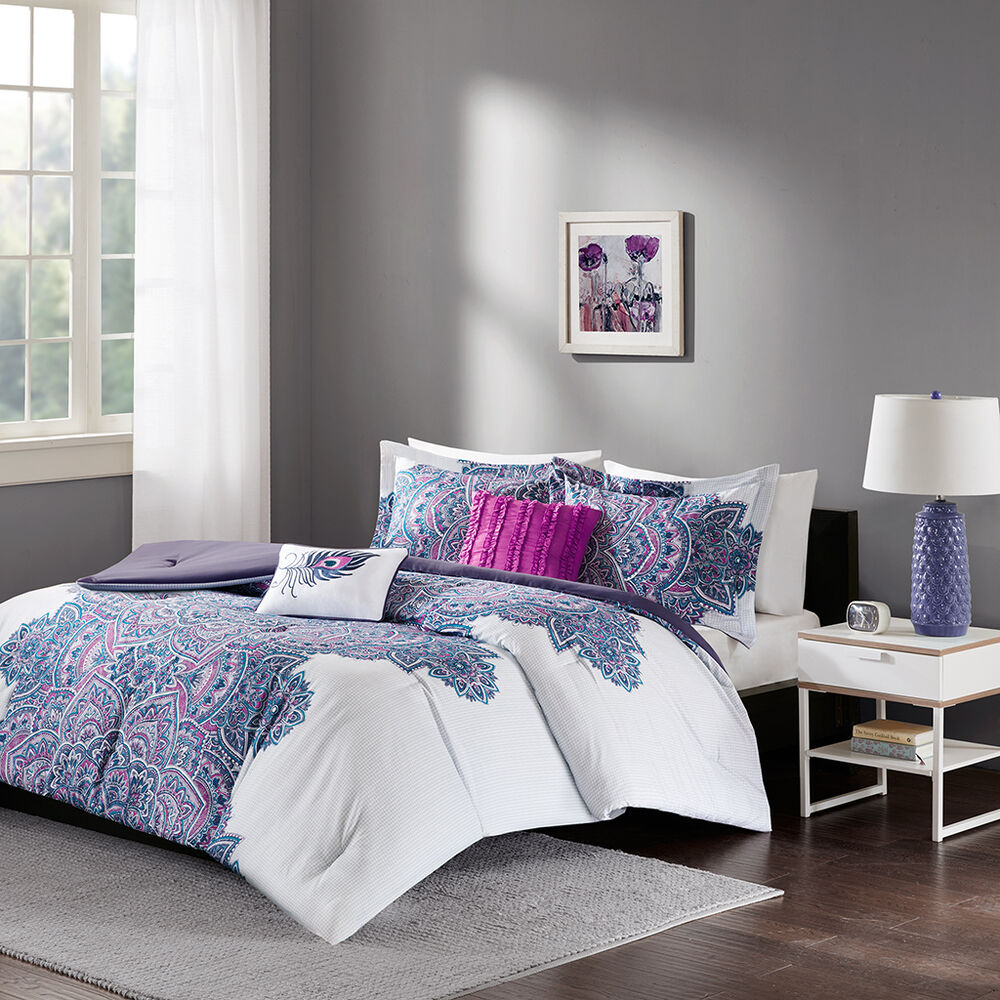 beautiful modern chic white purple grey teal blue tropical global comforter set ebay. Black Bedroom Furniture Sets. Home Design Ideas