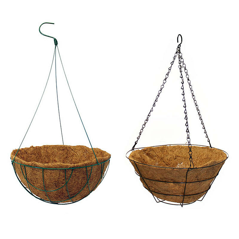 Coco liner wire hanging basket 14 inch diameter round or flat bottom ebay - Diametre cercle basket ...