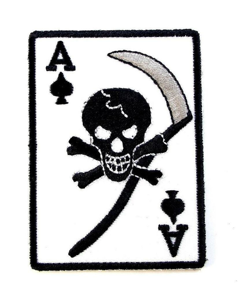 Ace Of Spades Death Card Embroidered Military Patch Iron