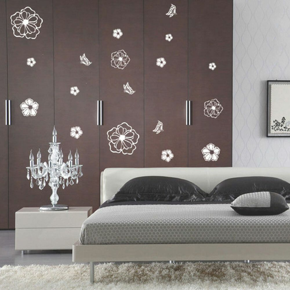 Black Flowers Art Glass Wall Stickers Vinyl Mural Decals Removable Bedroom Ebay