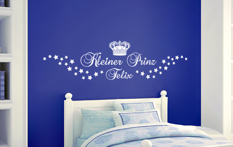 kleiner prinz name kinderzimmer stern name junge geburt wandaufkleber wandtattoo ebay. Black Bedroom Furniture Sets. Home Design Ideas