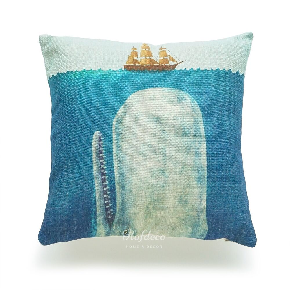 Big White Throw Pillows : White Whale Moby Dick Sea THICK FABRIC Throw Pillow Case Cushion Cover Navy Deco eBay