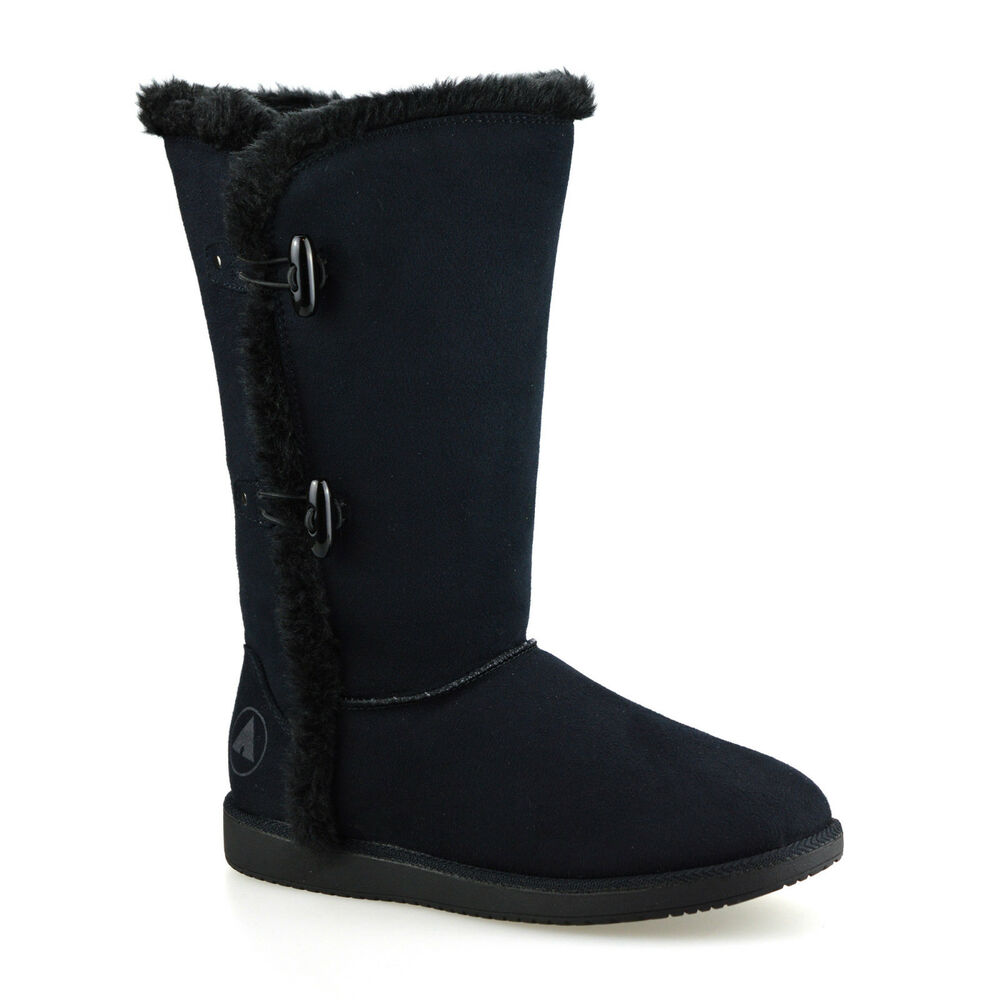 Ladies Womens Flat Faux Suede Warm Fur Lined Winter Mid