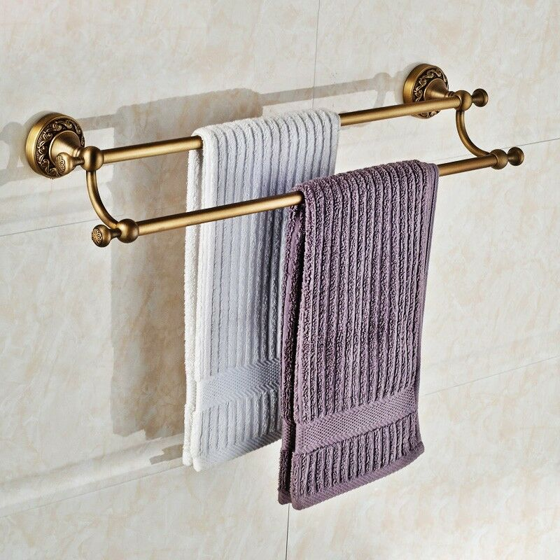 antique brass double towel bar wall mounted bathroom towel rack ebay