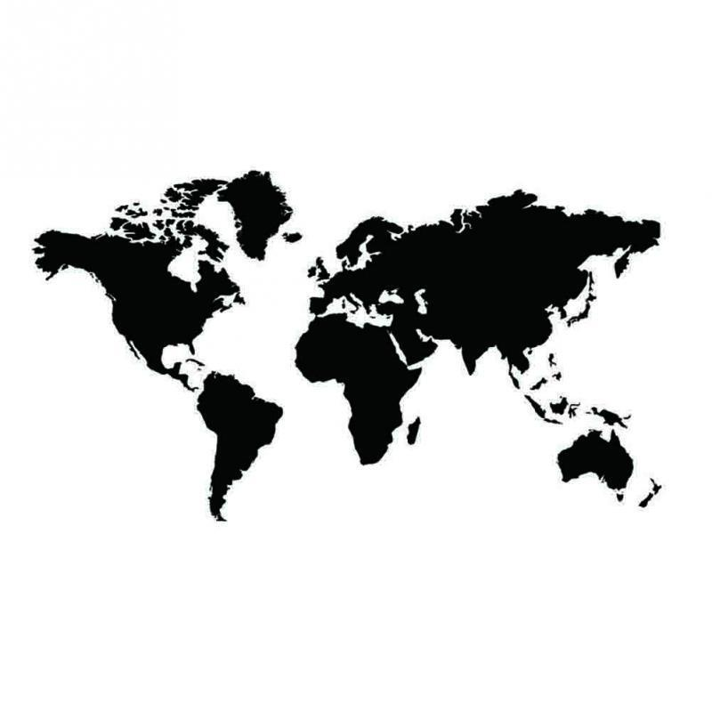 Black map of the world wall sticker decal vinyl art for Black and white world map wall mural