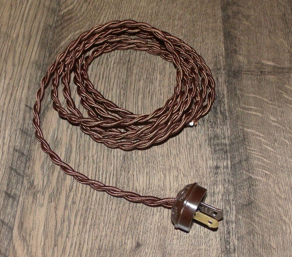 Brown 8 Vintage Lamp Cord Twisted Cloth Covered Wire