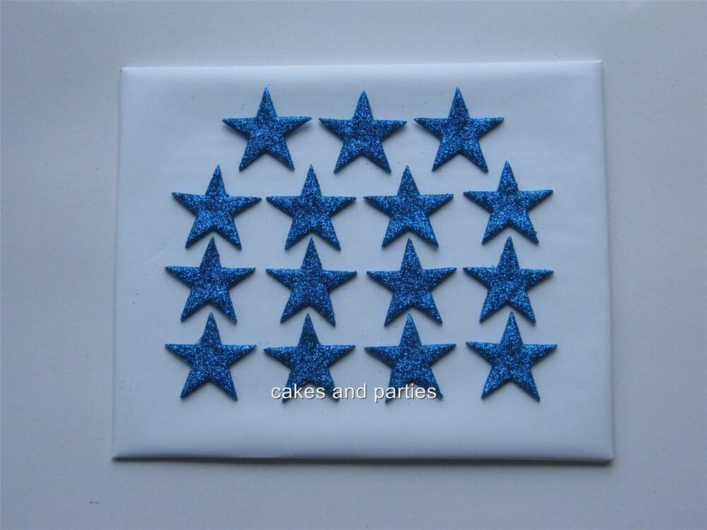 Cake Decorations Blue Stars : 15xEDIBLE BLUE GLITTER STARS. CAKE DECORATIONS - MEDIUM ...