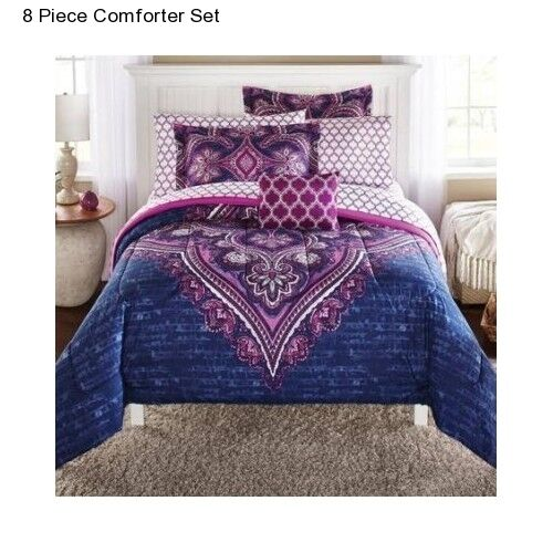 New purple 8 piece king size comforter set with sheets for Decor 8 piece lunch set