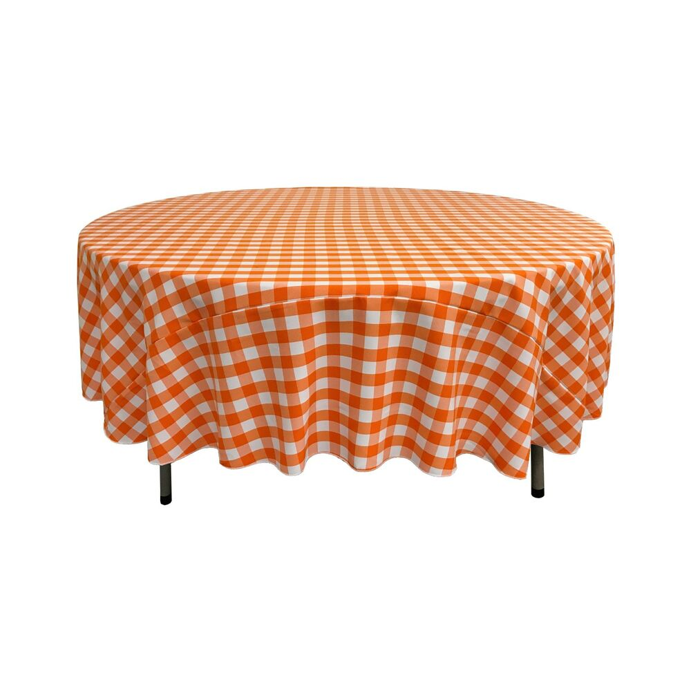 La Linen Polyester Gingham Checkered 72 Inch Round