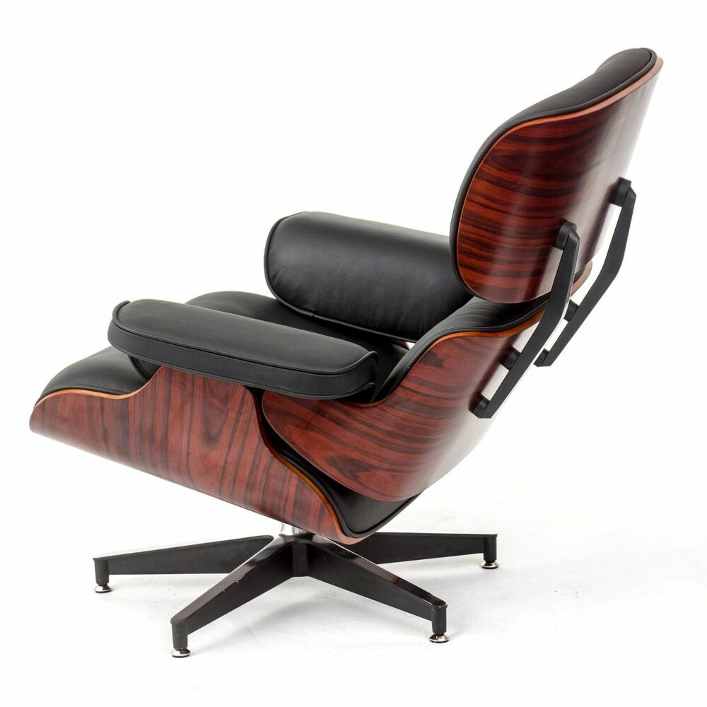 Charles eames rosewood lounge chair and ottoman in black for Eames vitra replica