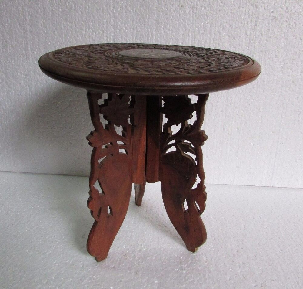 Vintage old hand carved wooden stool center foldable