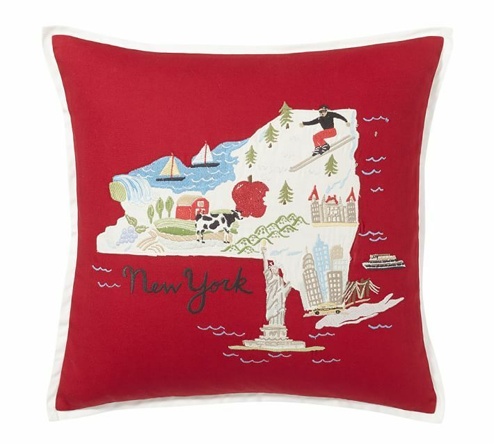 Pottery Barn New York Embroidered Pillow Cover 18 Quot New Ebay