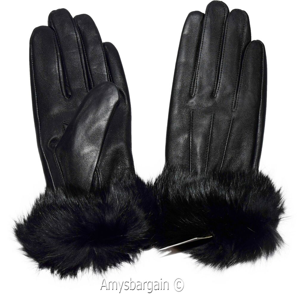 leather gloves real fox fur size small womens gloves