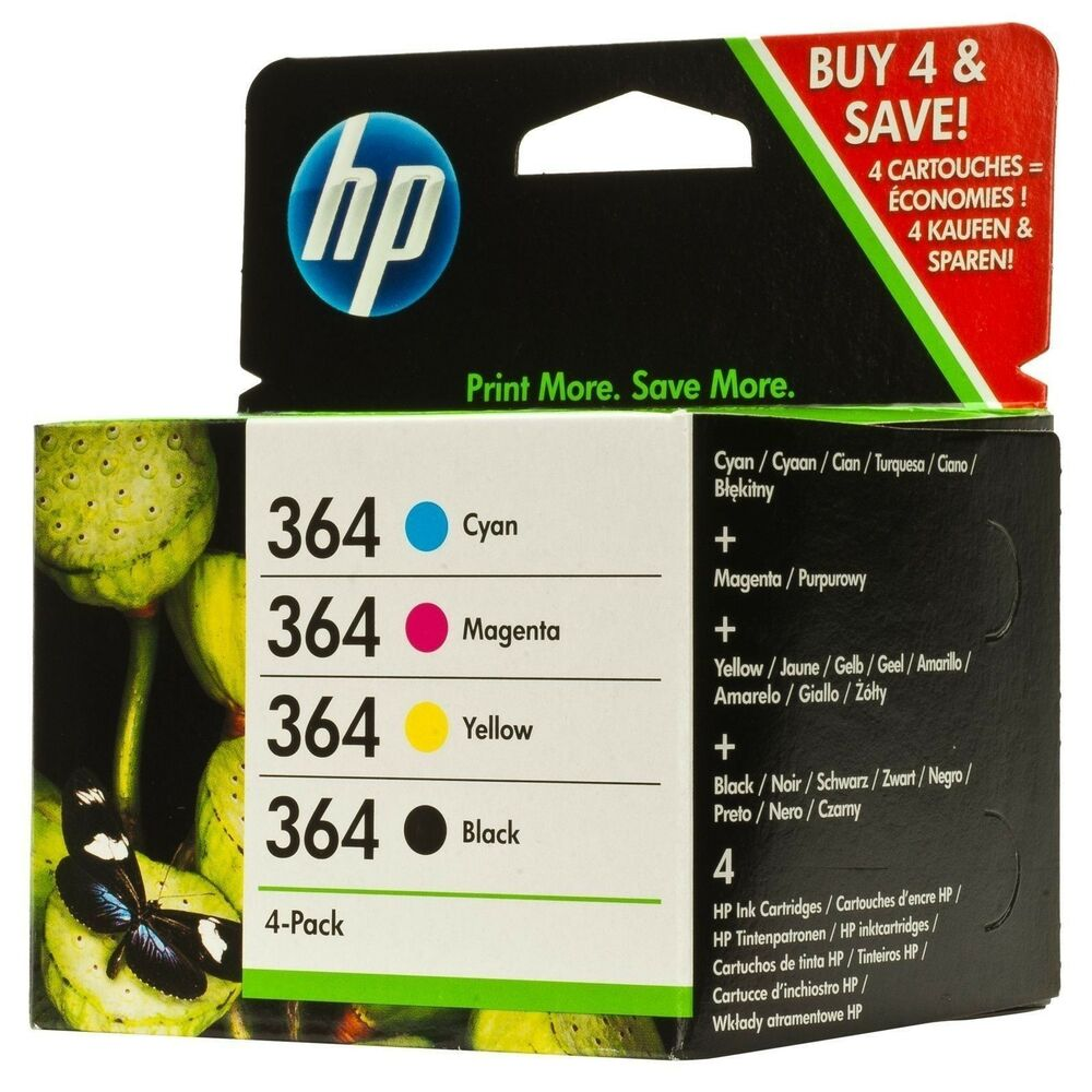 set of 4 original genuine hp 364 ink cartridges for photosmart 6520 7520 5520 ebay. Black Bedroom Furniture Sets. Home Design Ideas