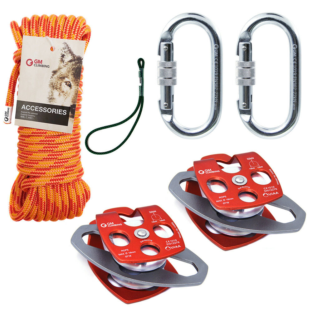 Block & Tackle Pulley Kit : Block and tackle kit lb pulley with mm double braid rope rescue hauling