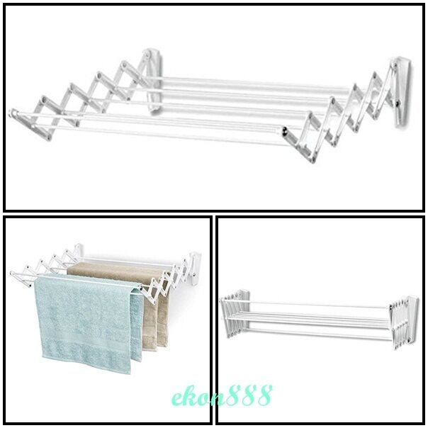 clotheslines laundry hangers retracts clothes wall mount drying rack space saver ebay. Black Bedroom Furniture Sets. Home Design Ideas