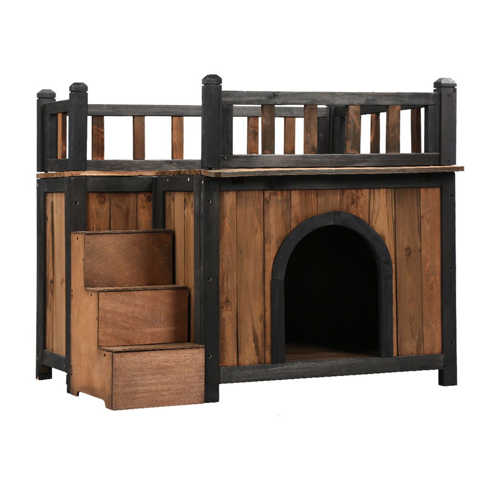 Wooden Dog Pet House Shelter Cabin Rooftop Balcony Side ...