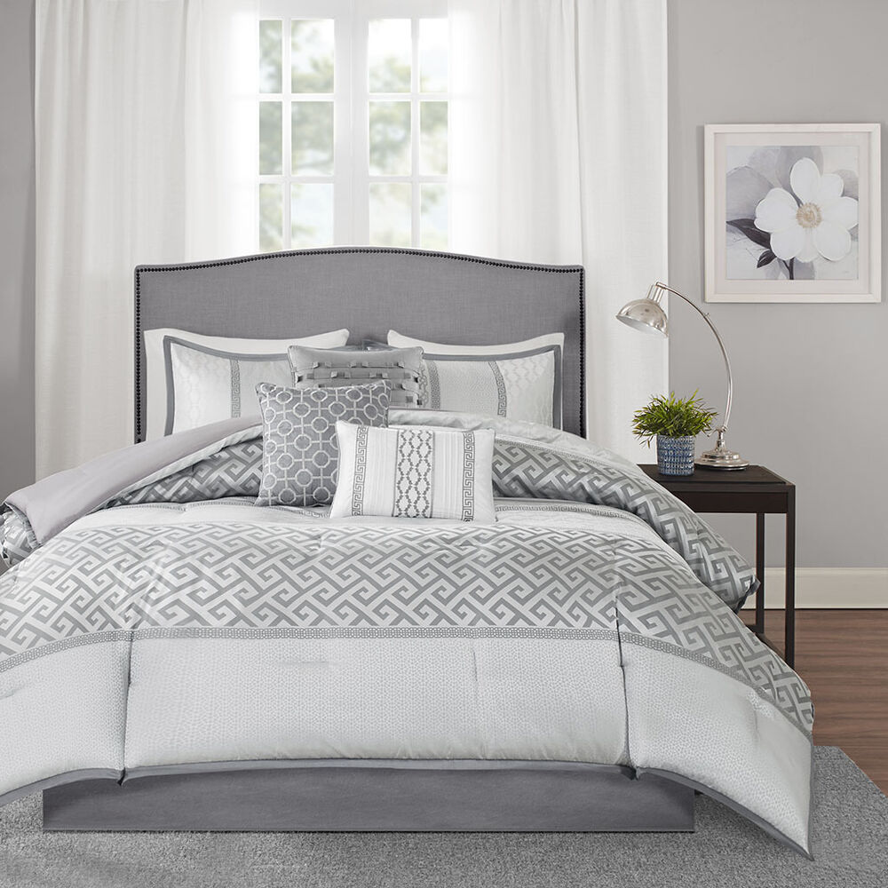 beautiful modern chic elegant geometric grey charcoal silver white comforter set ebay. Black Bedroom Furniture Sets. Home Design Ideas
