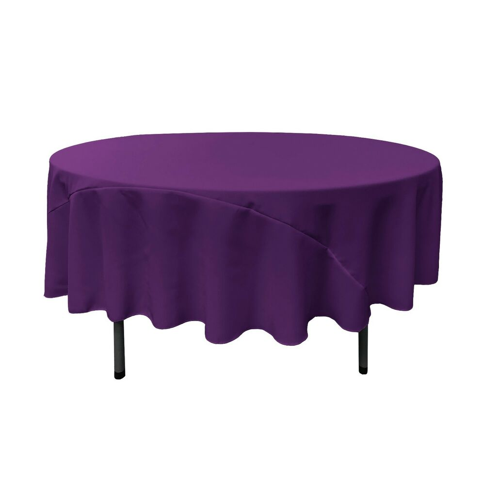 La Linen Polyester Poplin Round Tablecloth 90 Inches