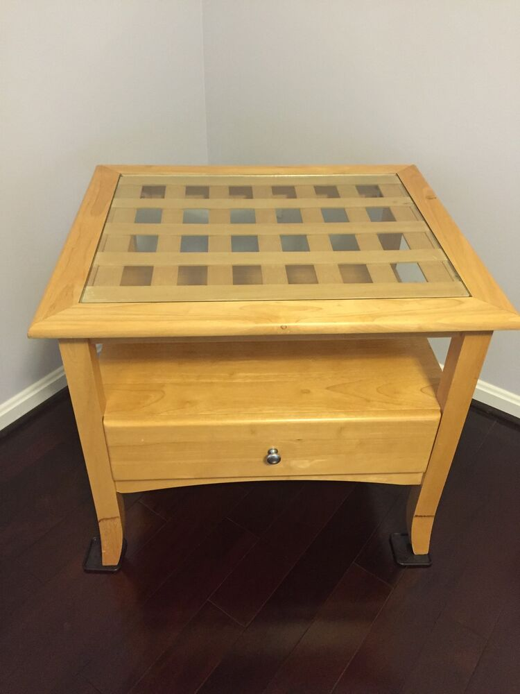 solid wood glass top end table 24 in d x 28 in l x 24 in h with drawer ebay. Black Bedroom Furniture Sets. Home Design Ideas