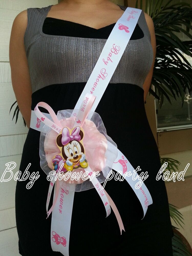 Baby Shower Minnie Mouse Mom To Be Itu0027s A Girl Sash Pink Ribbon And Corsage  | EBay