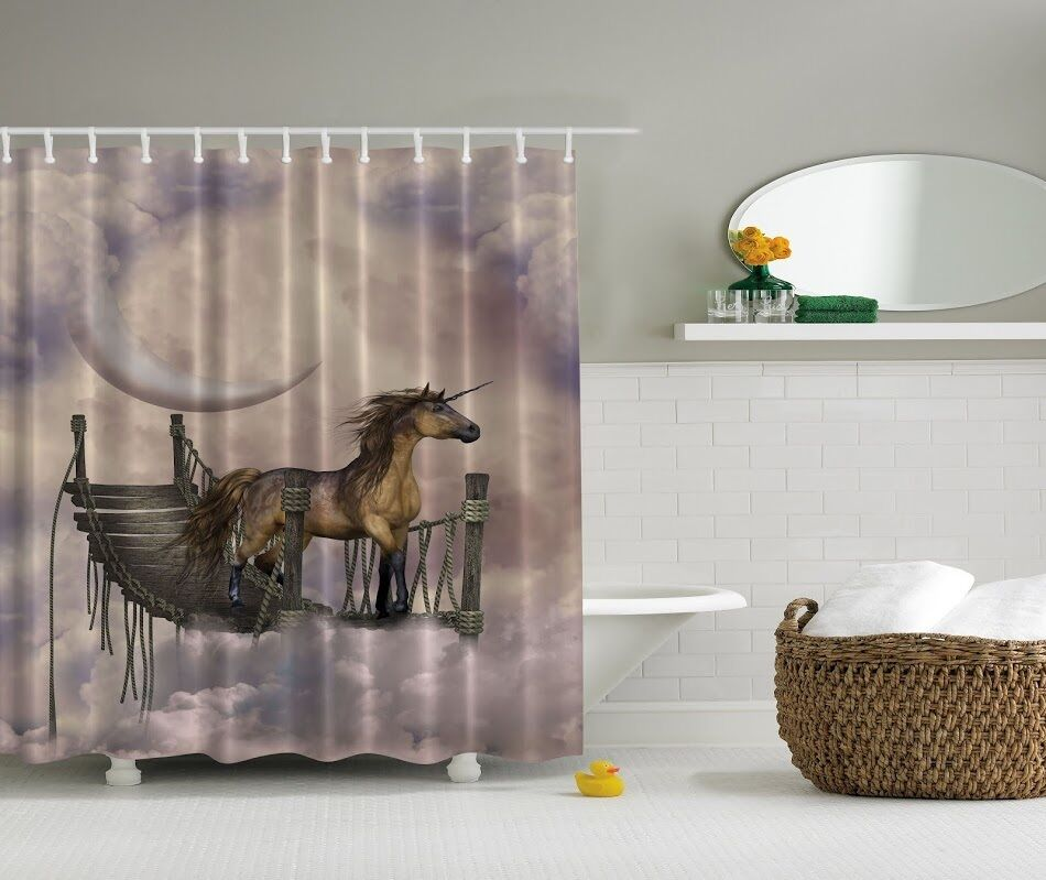 Horse Western Home D Cor Accessories Equestrian Themes: Majestic Unicorn Photographic Fabric Shower Curtain Horse