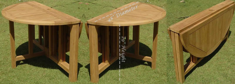 Grade A Teak Wood 48 Round Butterfly Dining Table Outdoor Garden Patio