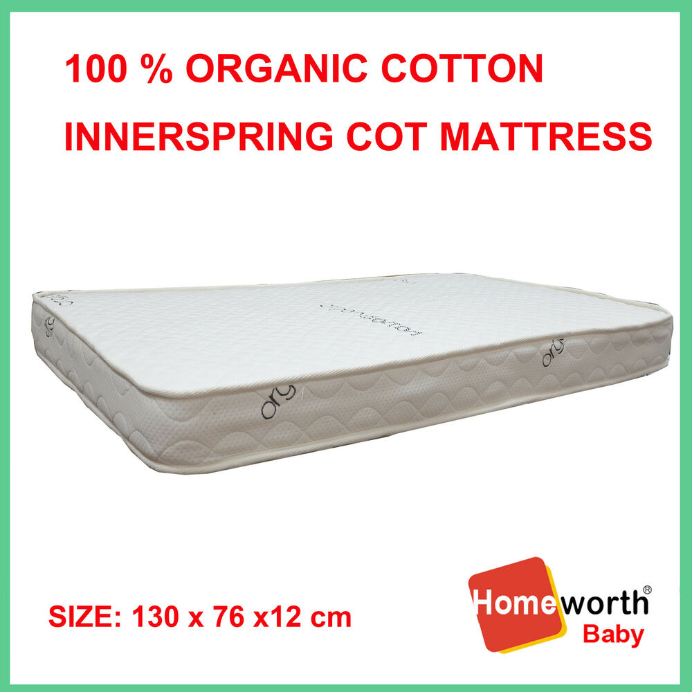 New 100 Certified Organic Cotton Innerspring Cot Crib