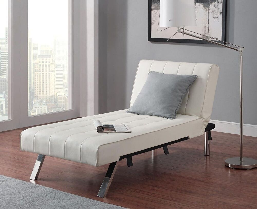 Leather Lounge Chair Tufted Modern Chaise Couch White
