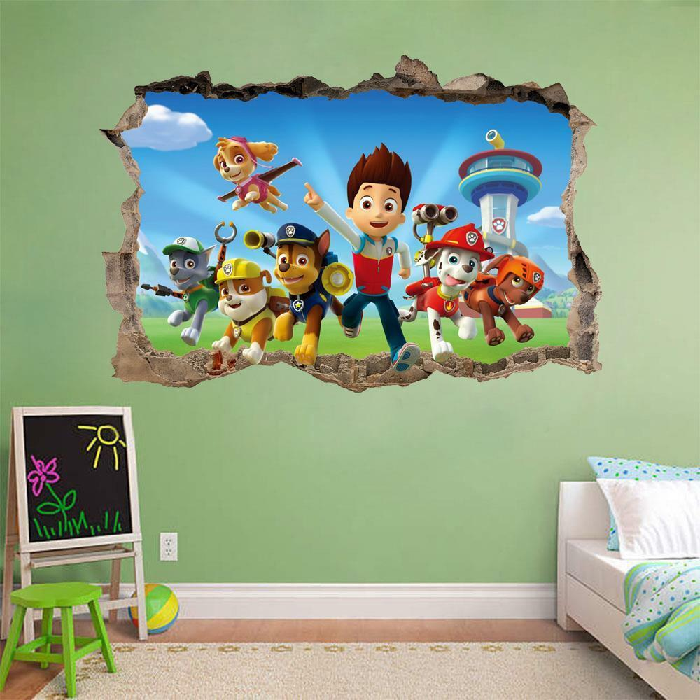 Paw patrol smashed wall 3d decal removable graphic wall for Sticker mural 3d