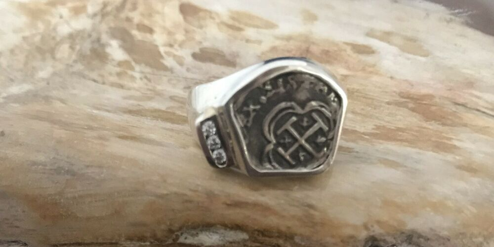 atocha coin ring mens 925 sterling silver sunken treasure