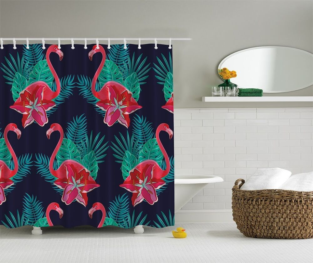 Tropical Pink Flamingo Digital Shower Curtain Bird Lovers