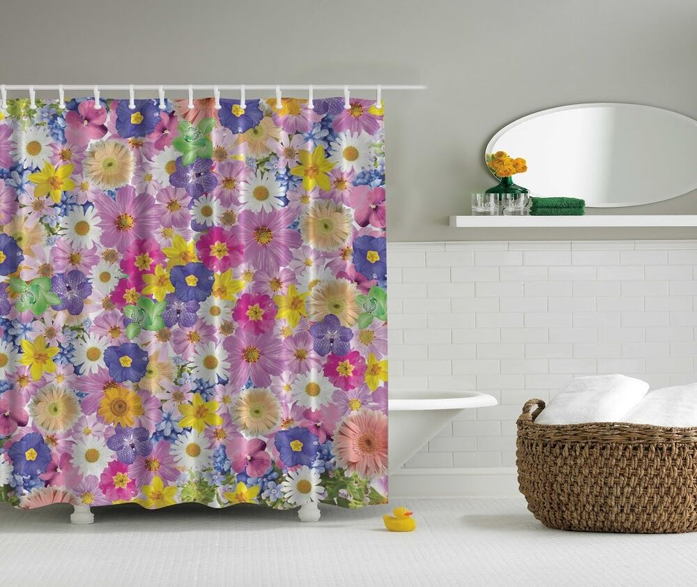 Spring pastel flowers digital print shower curtain daisy for Spring bathroom decor