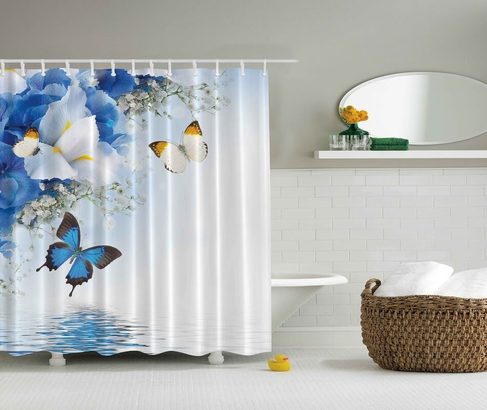 Spring blue butterflies digital print shower curtain for Floral bath accessories