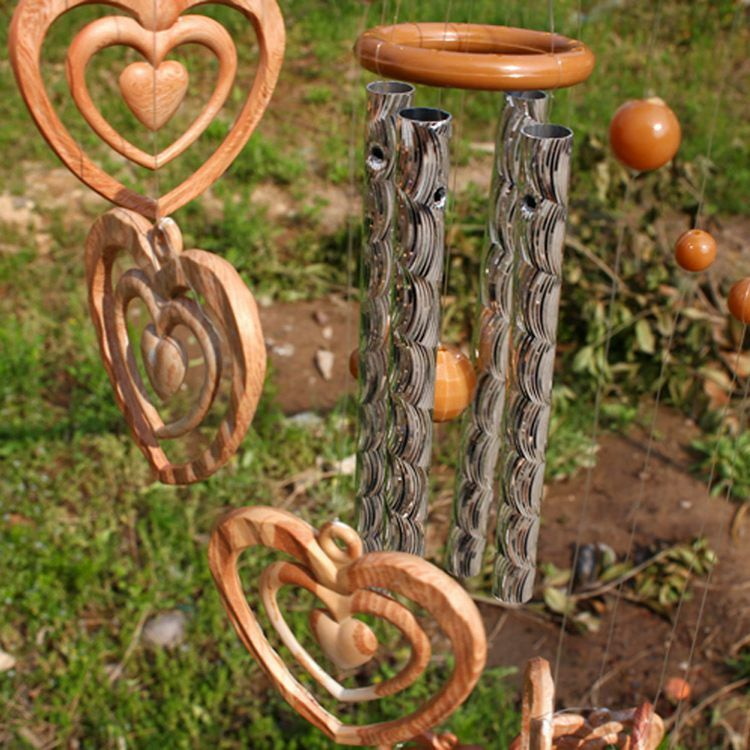Heart campanula ornament wind chime indoor gardens outdoor for Outdoor hanging ornaments