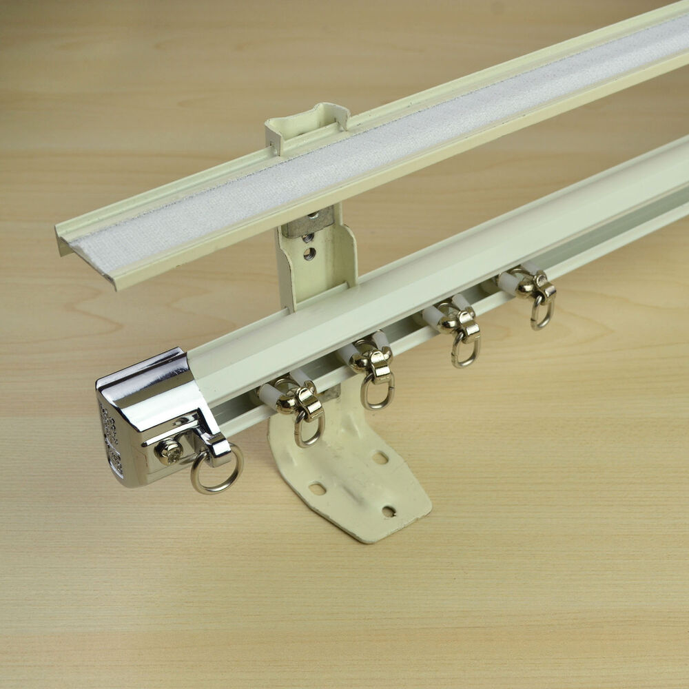 8 Ft Ivory Wall Mount Double Curtain Track Kit With