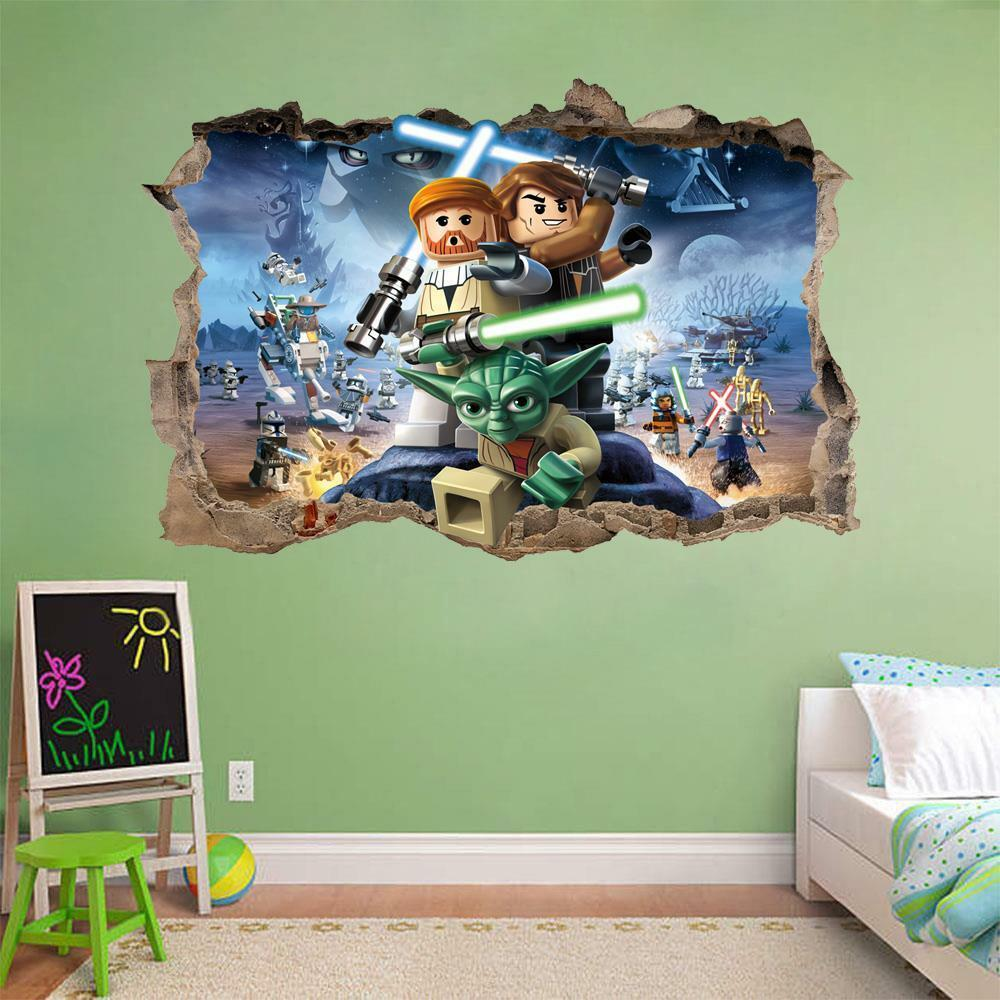 Lego star wars smashed wall 3d decal removable graphic for Mural star wars