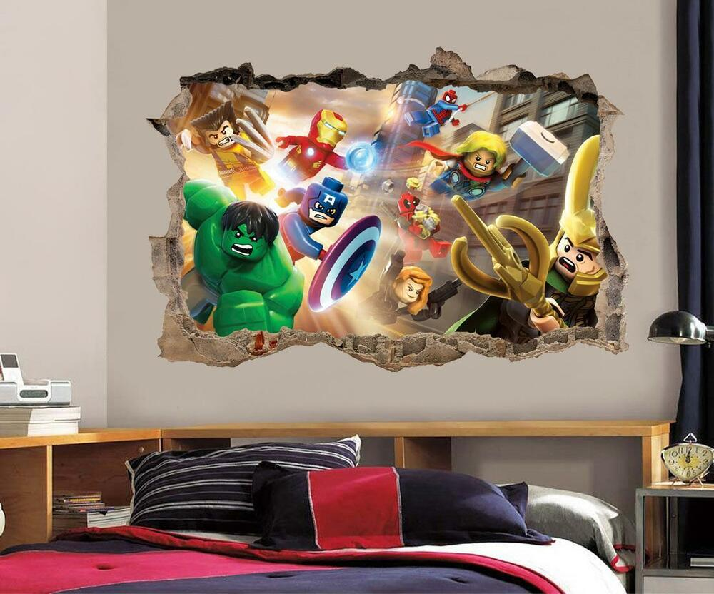 lego marvel dc smashed wall 3d decal removable graphic wall sticker mural h163 ebay. Black Bedroom Furniture Sets. Home Design Ideas