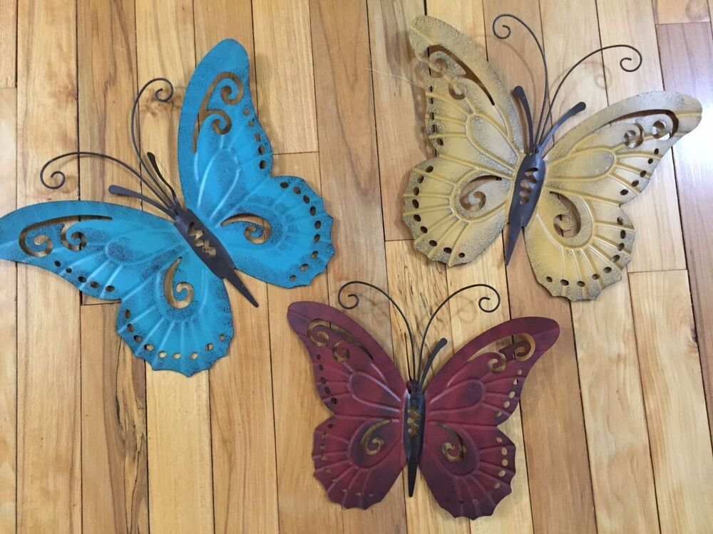 Nature inspired metal butterfly wall art trio indoor for Outdoor butterfly decor