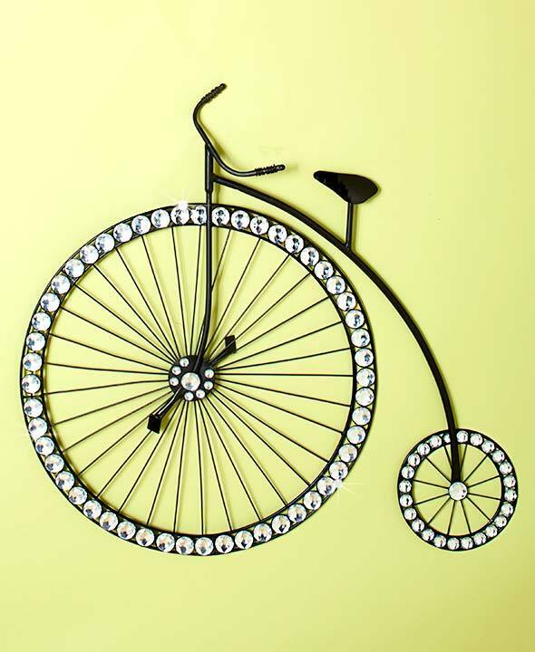 3d metal jewel accent high wheel bicycle wall art gems for Bicycle wheel wall art