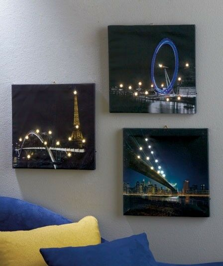 Led Lighted Canva Wall Art London Newyork City View
