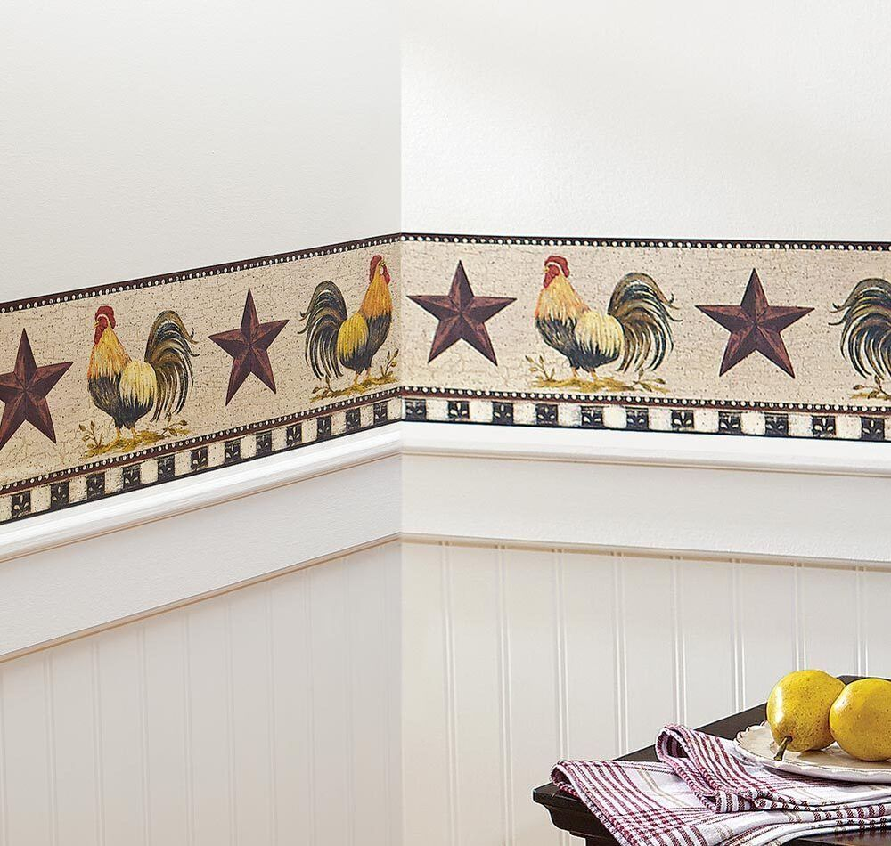 Wallpaper Decal: French Country Primitive Rooster & Stars Checkered