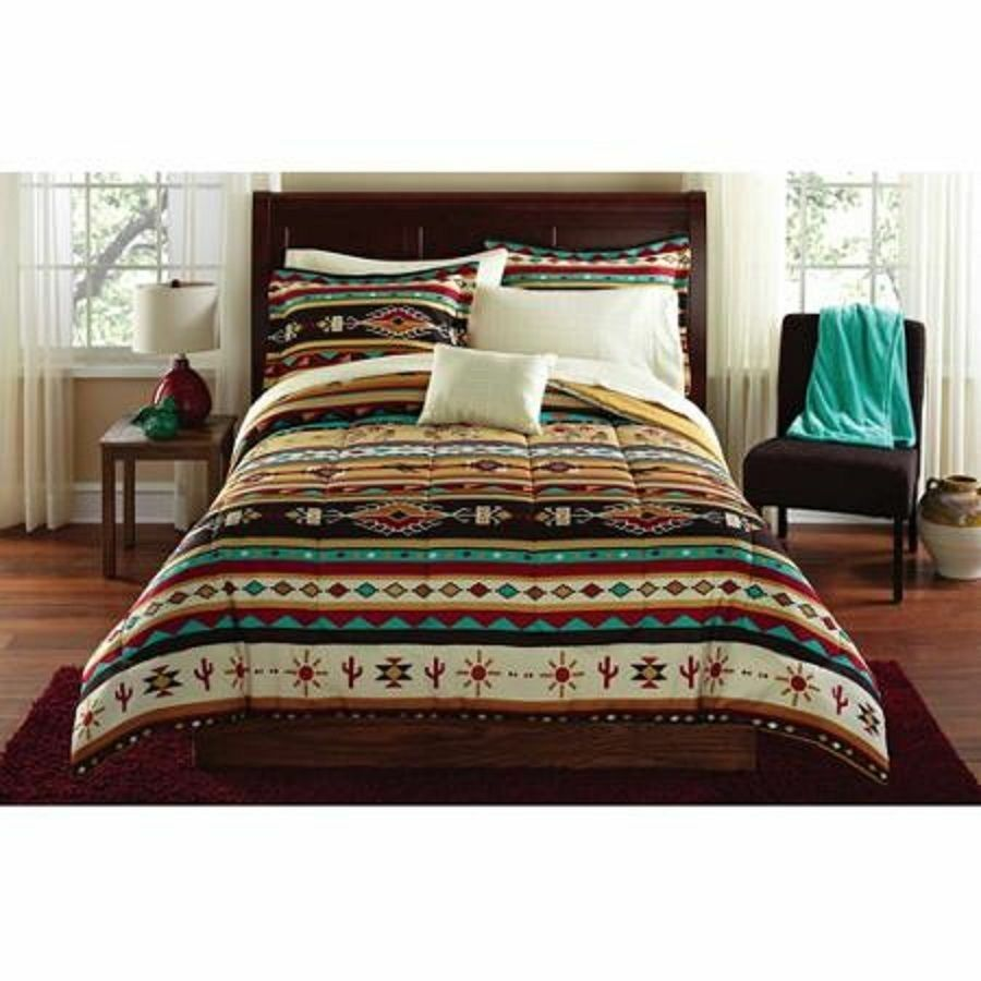 comforter bedding set twin size bed in a bag native american southwest 8 pieces ebay. Black Bedroom Furniture Sets. Home Design Ideas