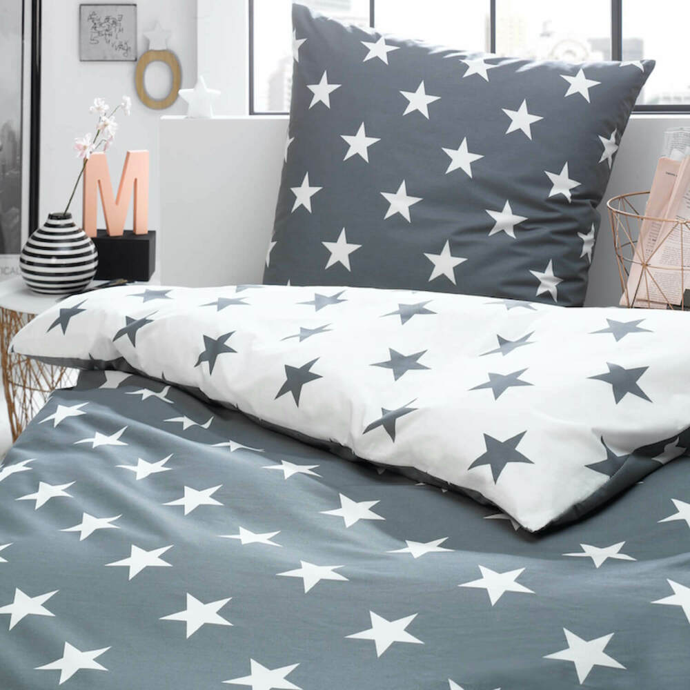 bettw sche sterne stars grau silber wei himmel modern perkal baumwolle trend ebay. Black Bedroom Furniture Sets. Home Design Ideas