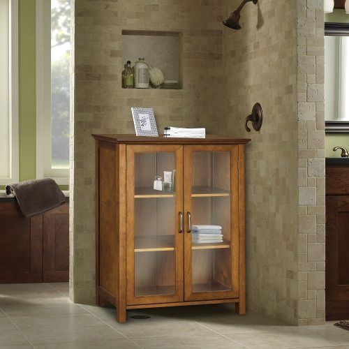 Oak Floor Cabinet Curio Case Display Storage Shelf Box 2 ...