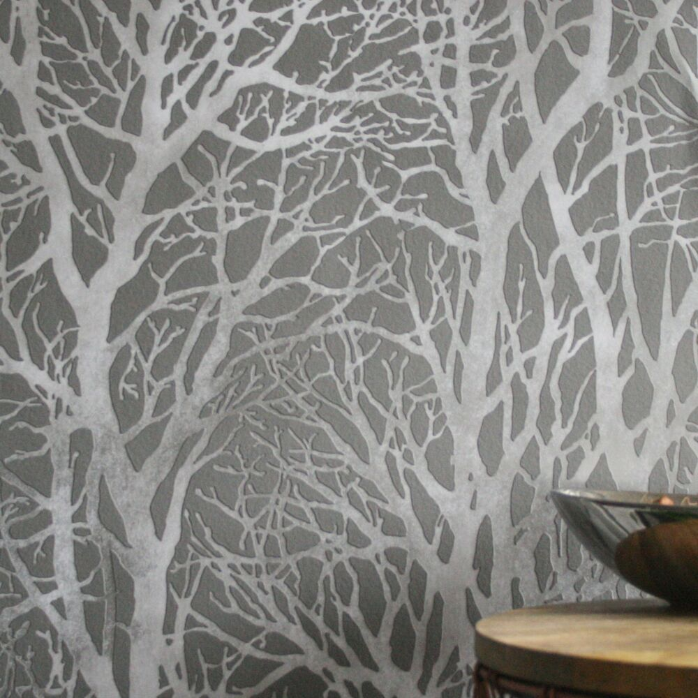 Stunning ''Metallic Grove' Forest / Tree Wallpaper in Grey ...