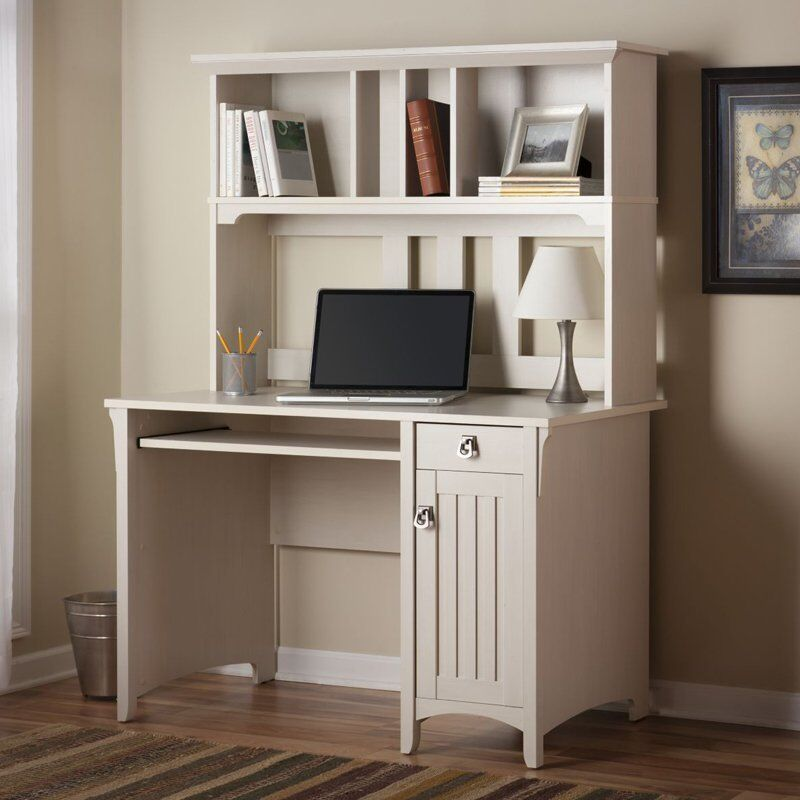 White computer desk modern office hutch contemporary for Modern home office furniture