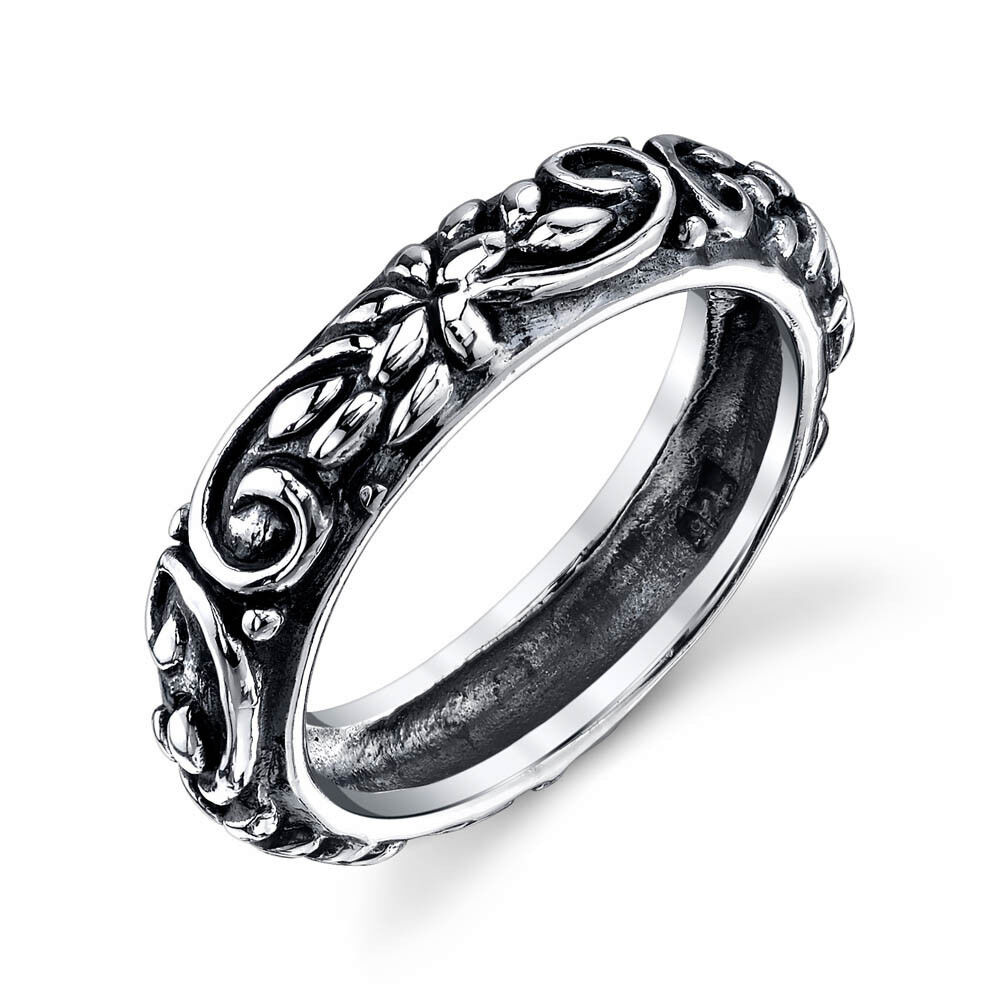 925 Solid Vintage Sterling Silver Band Ring For Women