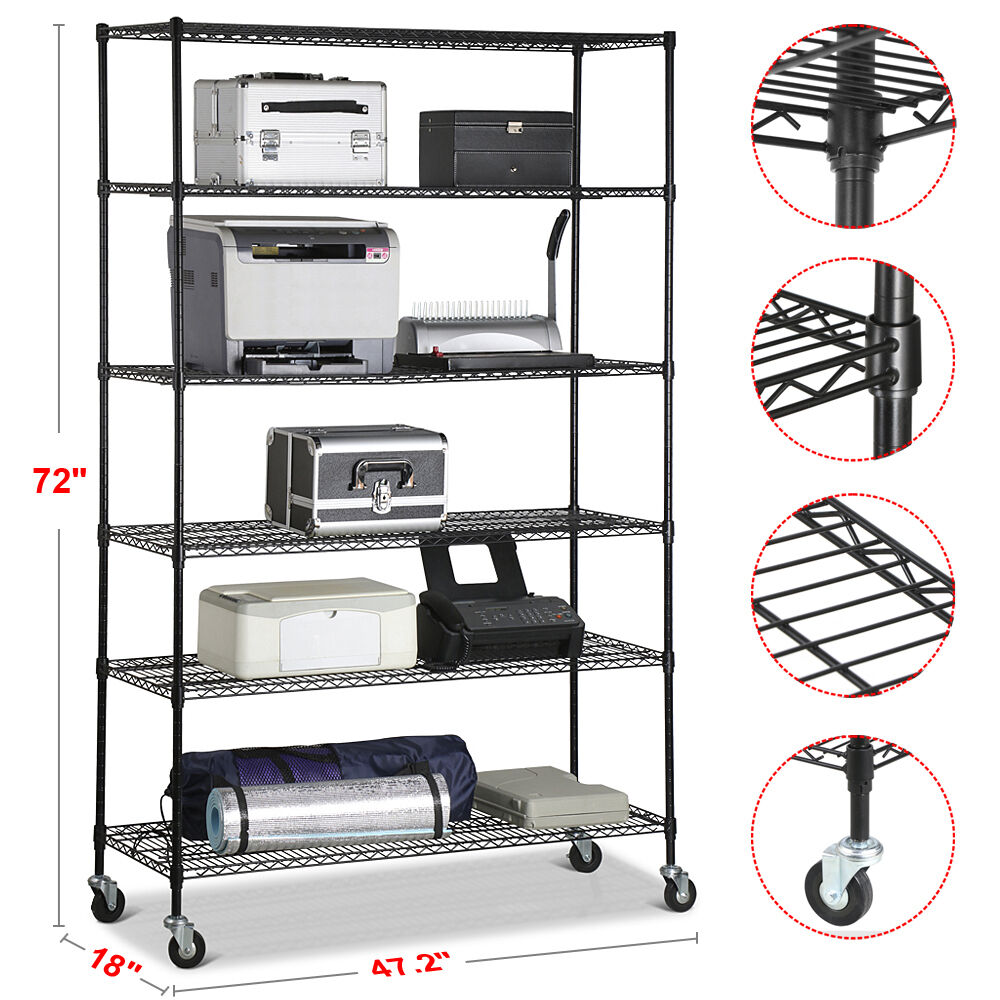 commercial metal shelving 6 tier layer shelf adjustable steel wire metal 13753
