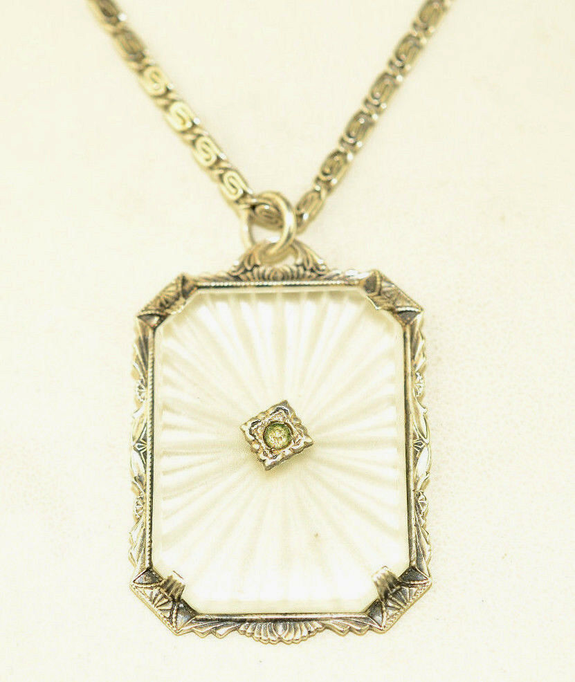 Antique Art Deco Sterling Silver Camphor Glass Pendant 17